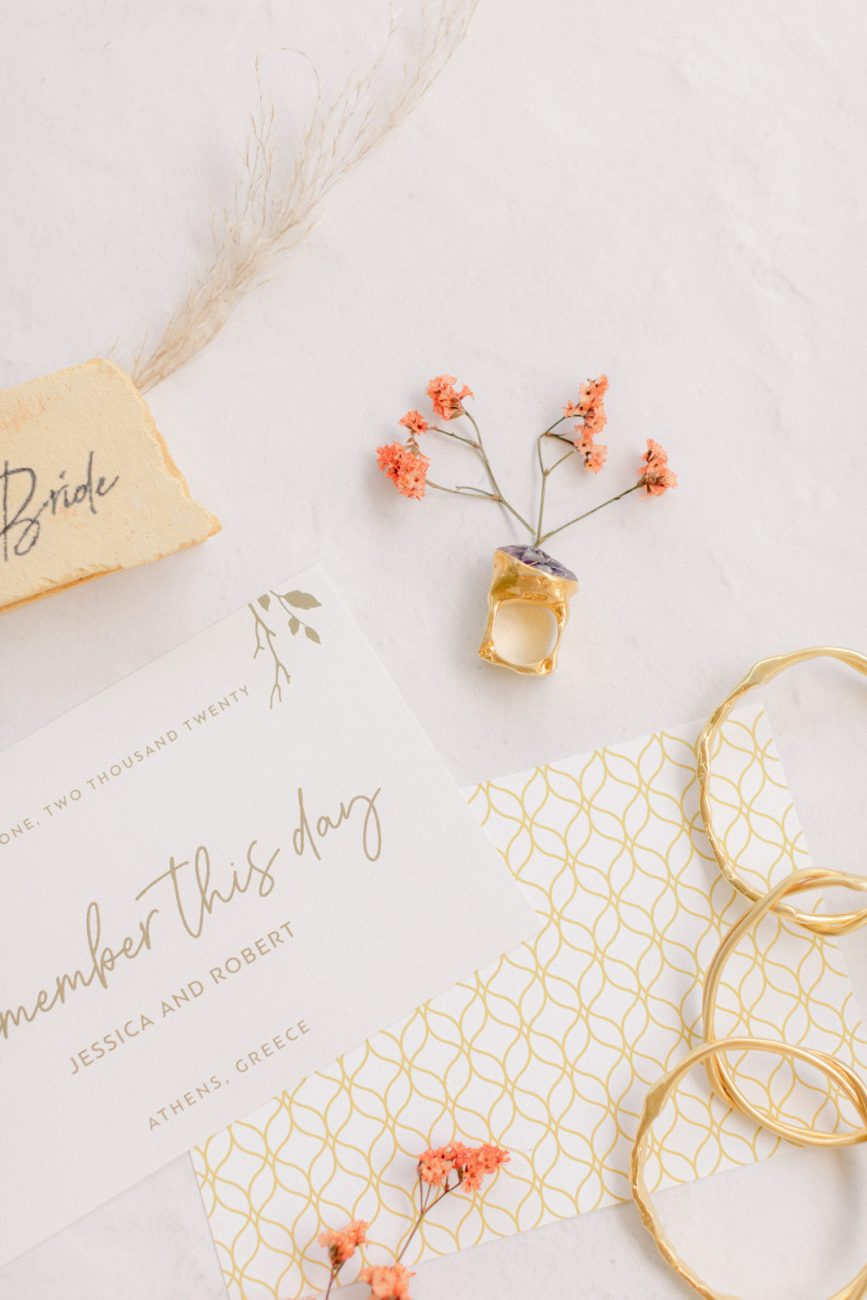 Ahens fine art photographer flatlay with gold ring