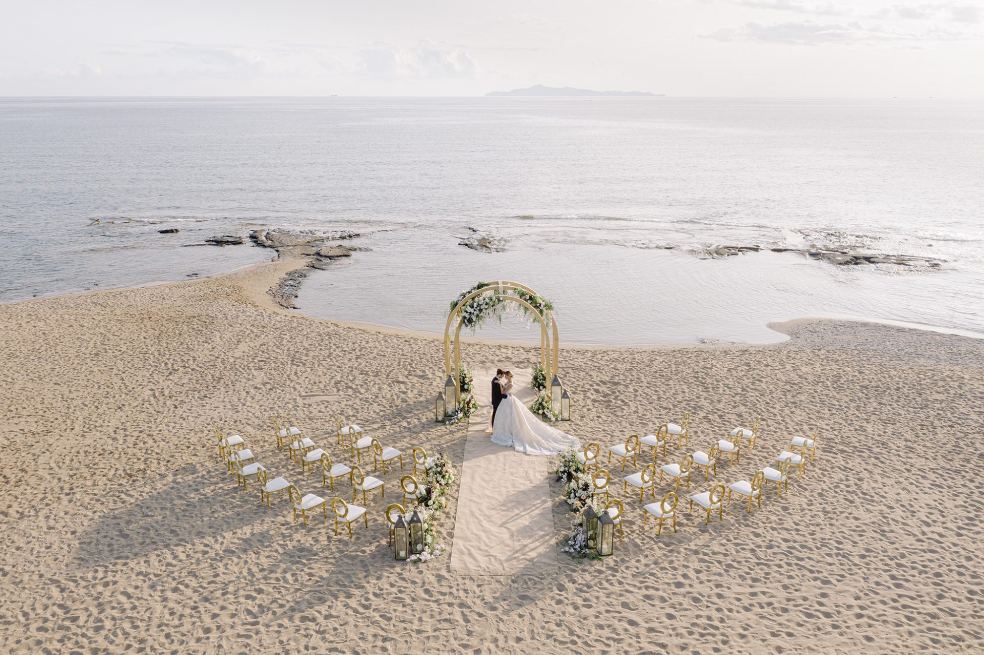 Beach wedding in Athens from above