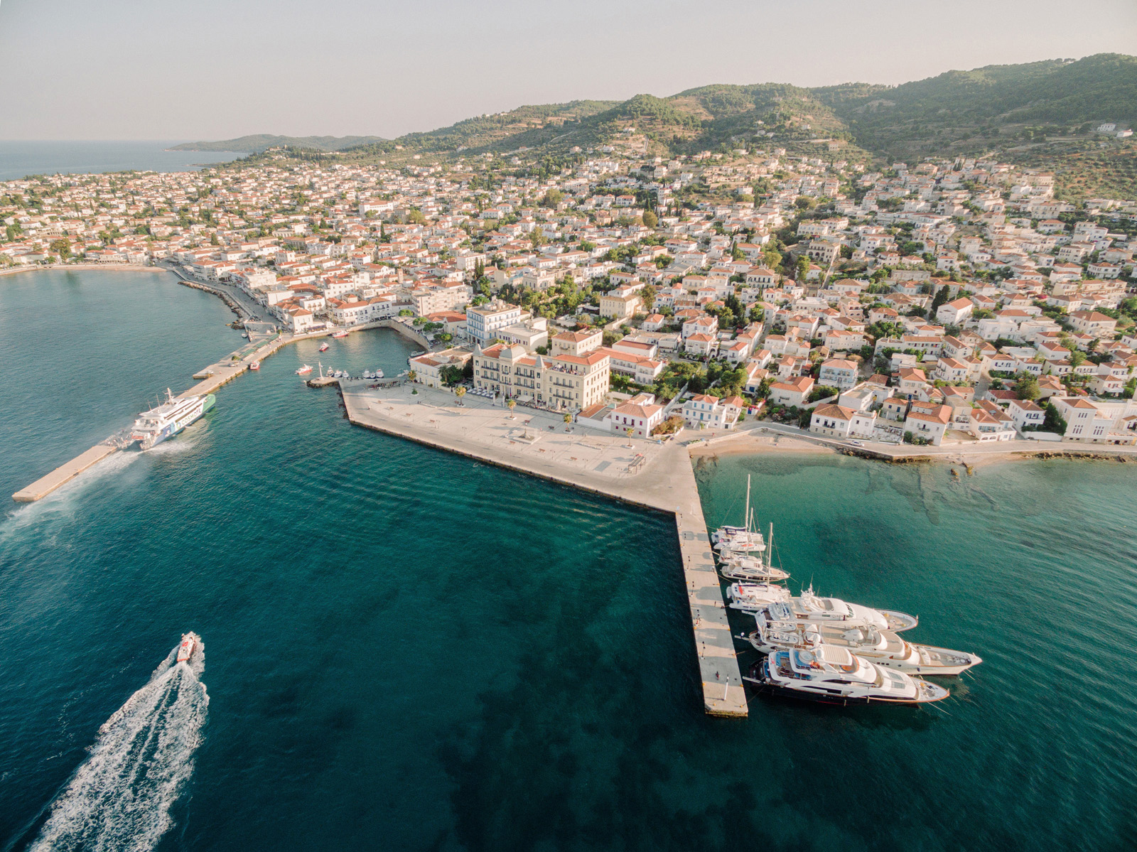 Spetses island drone image for a wedding
