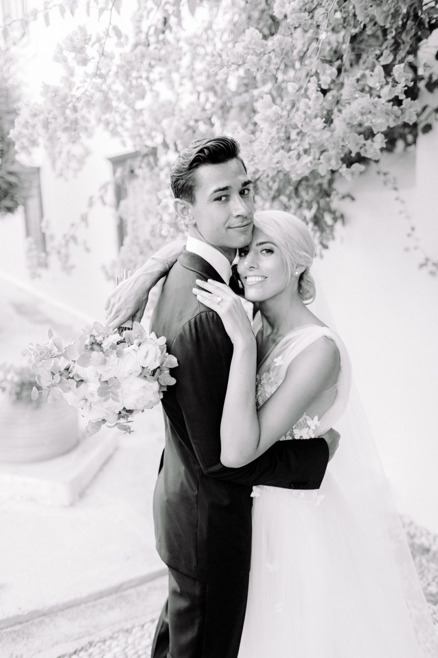 spetses wedding couple hugging looking at the camera black and white