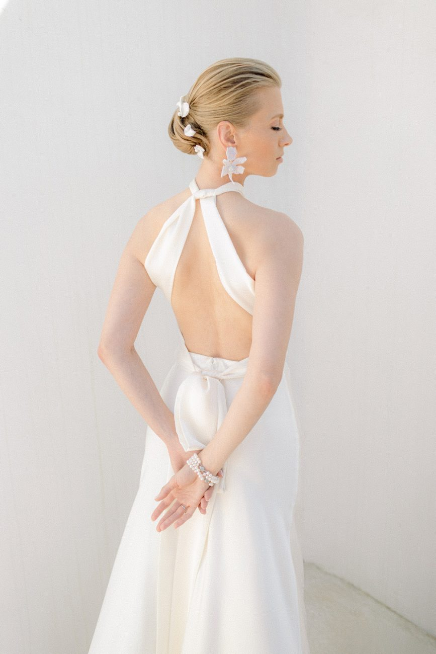 bride's light and airy portrait before her wedding in Mykonos